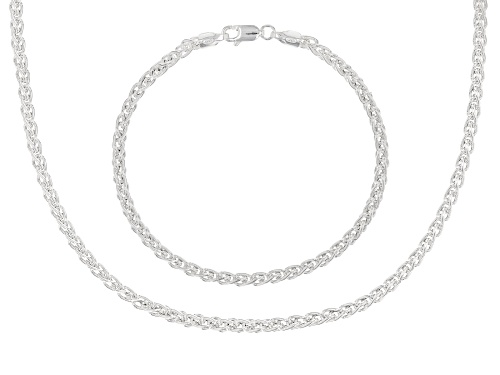 Photo of Sterling Silver Wheat Chain 18 Inch & Bracelet 7.5 Inch