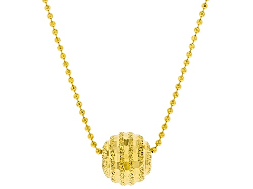 Photo of 18K Yellow Gold Over Sterling Silver Bead Chain With Diamond Cut Central Bead Necklace 18 Inch - Size 18