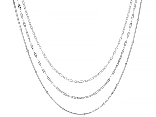Photo of Sterling Silver Flat Disc, Alternated Rolo, And Snake With Bead Chain Necklace Set 18 Inch - Size 18
