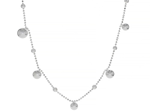 Photo of Sterling Silver Bead With Bead Drop Station Chain Necklace 28 Inch - Size 28