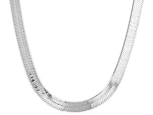 Photo of Sterling Silver 7mm Herringbone Chain Necklace - Size 20