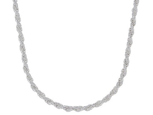 "Photo of Sterling Silver Diamond Cut Rope Chain Necklace 18"" - Size 18"