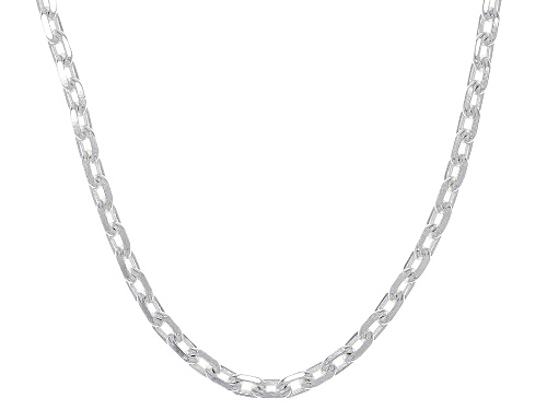 Photo of Sterling Silver Diamond Cut Oval Rolo Chain Necklace - Size 18