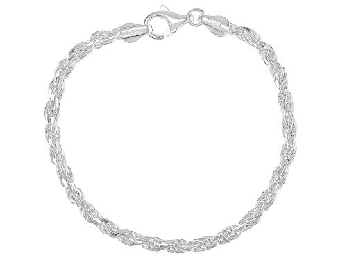 Photo of Sterling Silver Diamond Cut Rope Chain Bracelet - Size 7.25
