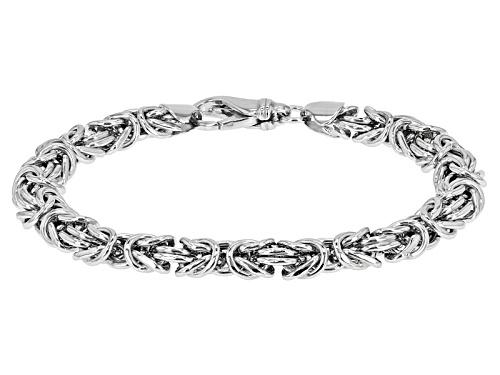 Photo of Rhodium Over Sterling Silver 8MM Domed Polished Bold Byzantine Bracelet - Size 7