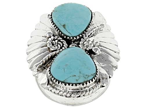 Photo of Southwest Style By Jtv™ Pear Shape Kingman Turquoise Sterling Silver Ring - Size 6