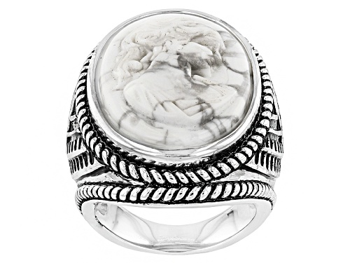 Photo of Southwest Style By Jtv™ 24x17mm Oval Carved White Magnesite Cameo Sterling Silver Ring - Size 5
