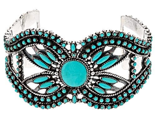 Southwest Style By Jtv™ Round And Marquise Kingman Turquoise Sterling Silver Cuff Bracelet - Size 8