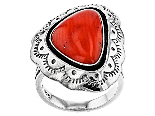 Photo of Southwest Style By Jtv™ 18x12mm Fancy Cabochon Red Coral Sterling Silver Solitaire Ring - Size 6
