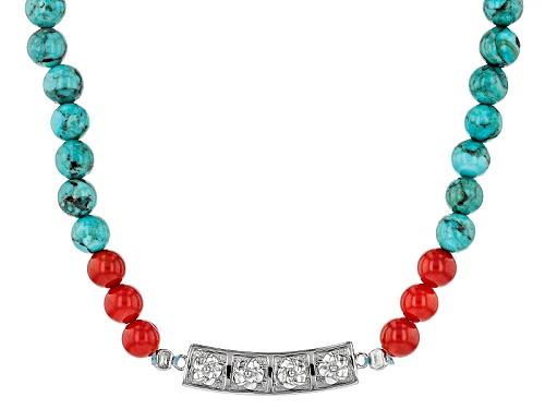 Photo of Southwest Style By Jtv™ 6mm Round Turquoise And Red Sponge Coral Bead Sterling Silver Necklace - Size 16