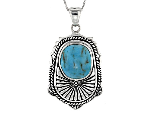 Photo of Southwest Style By Jtv™ 15x13mm Fancy Cabochon Turquoise Sterling Silver Solitaire Pendant