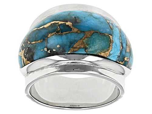 Photo of Southwest Style By Jtv™ Fancy Cabochon Kingman Mohave Turquoise Sterling Silver Band Ring - Size 8