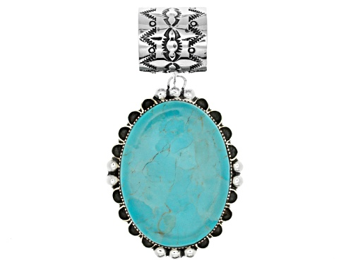 Photo of Southwest Style By Jtv™ 38x28mm Oval Kingman Turquoise Sterling Silver Pendant