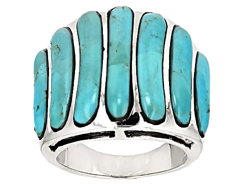 Southwest Style By Jtv™ Fancy Kingman Turquoise Inlay Sterling Silver Ring - Size 6