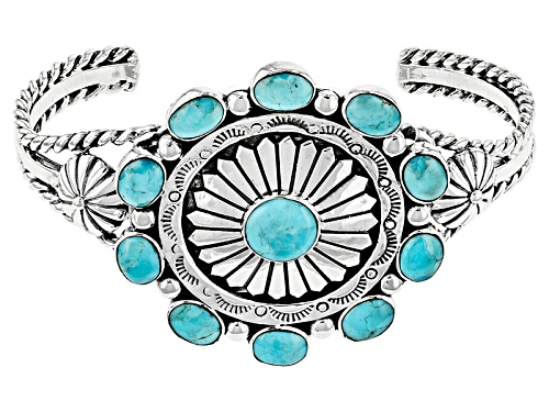 Photo of Southwest Style By Jtv™ Oval And Round Blue Turquoise Sterling Silver Cuff Bracelet