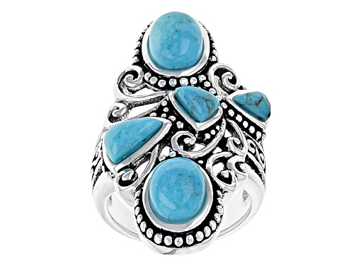 Photo of Southwest Style By Jtv™ Oval And Fancy Triangular Cabochon Turquoise Sterling Silver Ring - Size 12