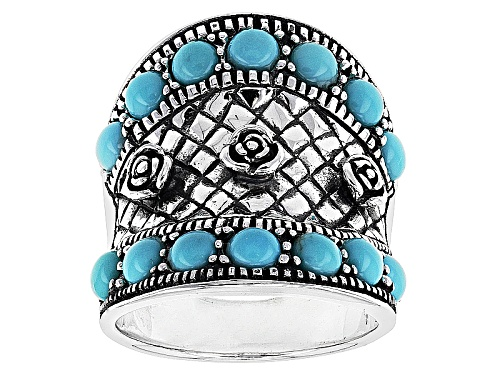 Photo of Southwest Style By Jtv™ 4mm Round Cabochon Campitos Turquoise Silver Flower Motif Ring - Size 6