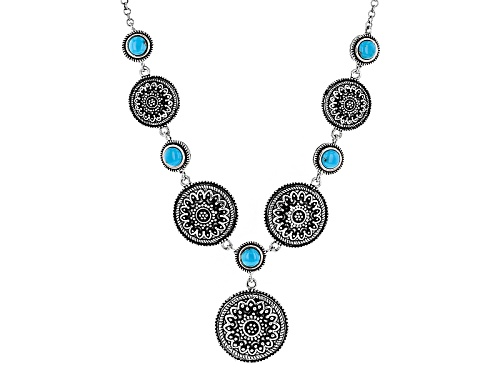 Photo of Southwest Style By Jtv™ 5mm Round Turquoise Sterling Silver Graduated Medallion Necklace - Size 18