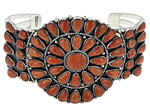 Photo of Southwest Style By Jtv™ Pear Shape And Round Red Sponge Coral Sterling Silver Cuff Bracelet