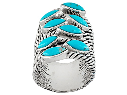 Photo of Southwest Style By Jtv™ 8x4mm Marquise Turquoise Sterling Silver Elongated 8-Band Ring - Size 5