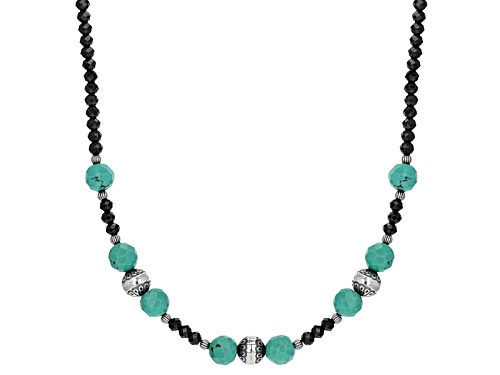 Photo of Southwest Style By Jtv™Approximately 35.00ctw Black Spinel With Kingman Turquoise Silver Necklace - Size 18
