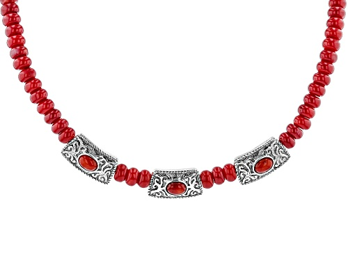 Photo of Southwest Style By Jtv™ 8x6mm Oval And 8mm Rondelle Bead Red Bamboo Coral Silver Necklace - Size 18
