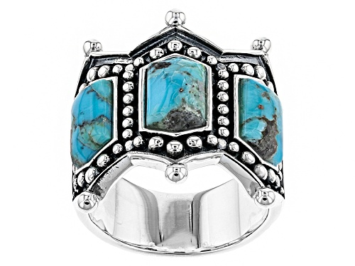 Southwest Style By Jtv™ 10x5mm Fancy Shape Turquoise Sterling Silver Ring - Size 6