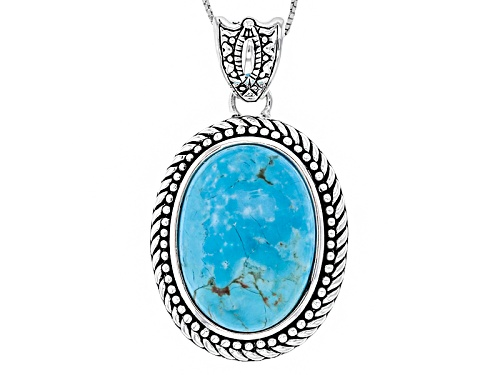 Photo of Southwest Style By Jtv™ 25x18mm Oval Turquoise Sterling Silver Pendant With Chain