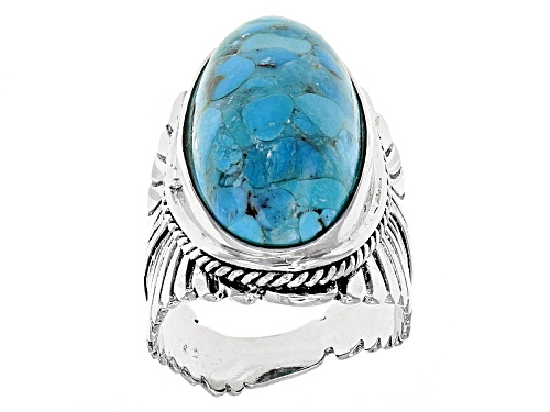Photo of Southwest Style By Jtv™ 24.5x12mm Oval Turquoise Rhodium Over Silver Textured Feather Solitaire Ring - Size 7
