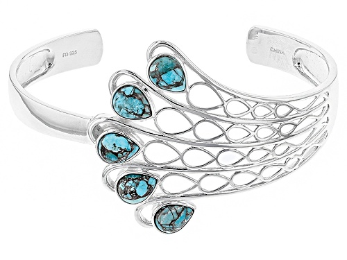 Photo of Southwest Style By Jtv™ 9x7mm Pear Shape Kingman Mohave Turquoise Sterling Silver Cuff Bracelet - Size 8