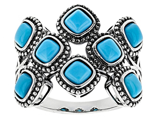 Photo of Southwest Style By Jtv™ 4mm Square Cushion Sleeping Beauty Turquoise Sterling Silver Ring - Size 5