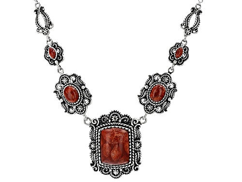 Photo of Southwest Style By Jtv™ Mixed Shape Cabochon Red Sponge Coral Sterling Silver 5-Stone Necklace - Size 18