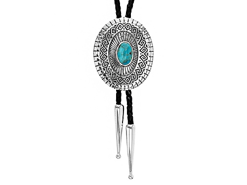 Photo of Southwest Style By Jtv™ 12x8mm Oval Turquoise Sterling Silver And Genuine Leather Bolo Necklace - Size 30