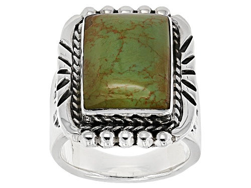 Photo of Southwest Style By Jtv™ 17x12mm Rectangular Green Turquoise Sterling Silver Solitaire Ring - Size 8