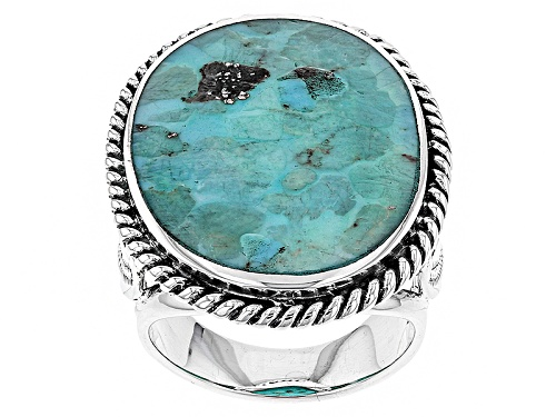 Photo of Southwest Style By Jtv™ 27x20mm Oval Mosaic Turquoise Sterling Silver Solitaire Ring - Size 5