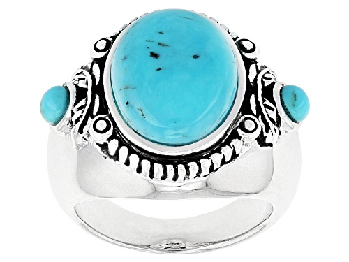 Photo of Southwest Style By Jtv™ 14x10mm Oval And 3mm Round Blue Turquoise Sterling Silver Ring - Size 6