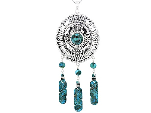 Photo of Southwest Style By Jtv™  Round Bead And Fancy Turquoise Silver Dreamcatcher Pendant With Chain