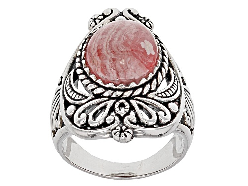 Photo of Southwest Style By Jtv™ 14x10mm Oval Cabochon Rhodochrosite Sterling Silver Solitaire Ring - Size 6