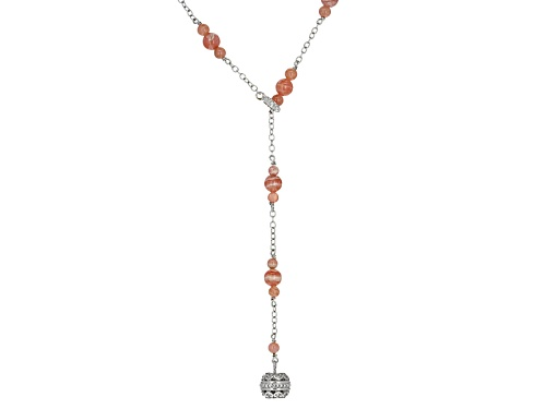 Photo of Southwest Style By Jtv™ 4mm And 6mm Round Rhodochrosite Bead Lariat Look Silver Necklace - Size 25
