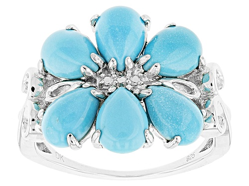 Photo of Southwest Style By Jtv™ 7x5mm Pear Shape Sleeping Beauty Turquoise Sterling Silver Ring - Size 11