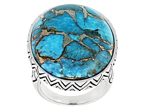 Photo of Southwest Style By Jtv™ 27x22mm Oval Kingman Blue Mohave Turquoise Sterling Silver Solitaire Ring - Size 6