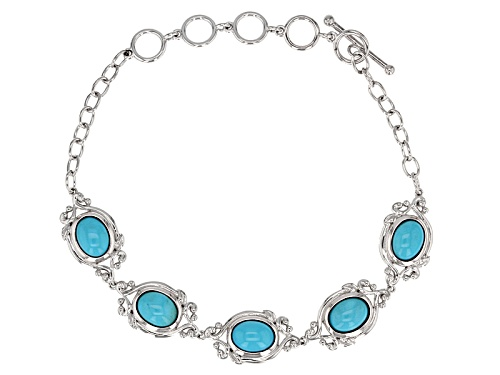 Photo of Southwest Style By Jtv™ 8x6mm Oval Cabochon Sleeping Beauty Turquoise Silver 5-Stone Bracelet - Size 8