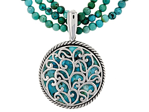 Photo of Southwest Style By Jtv™ Turquoise Bead 3-Strand Silver Necklace With Turquoise Silver Enhancer - Size 18