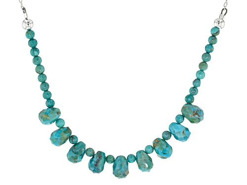 Photo of Southwest Style By Jtv™ 4mm Round Bead With 10x7mm Briolette Turquoise Sterling Silver Necklace - Size 18
