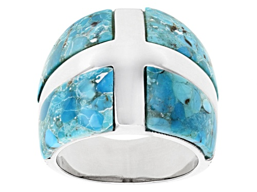 Photo of Southwest Style By Jtv™ 15.5x8mm Cabochon Turquoise Sterling Silver Band Ring - Size 5