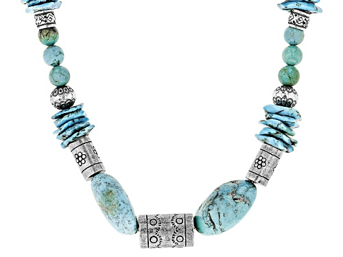 Photo of Southwest Style By Jtv™ Free-Form Nugget.Chip And Bead Kingman Turquoise Sterling Silver Necklace - Size 18
