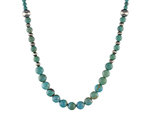 Photo of Southwest Style By Jtv™ Graduated Round 3mm, 6mm, And 8mm Kingman Turquoise Silver Bead Necklace - Size 18