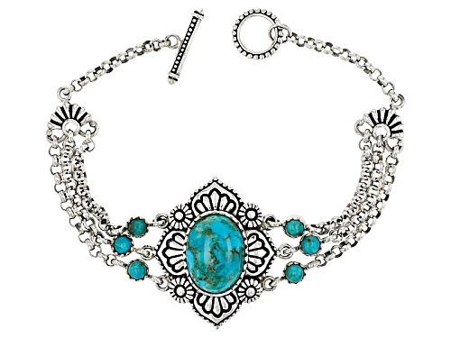 Photo of Southwest Style By Jtv™ 18x13mm Oval And 4mm Round  Turquoise Cabochon Sterling Silver Bracelet - Size 8