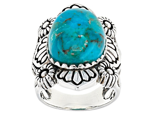 Photo of Southwest Style By Jtv™ 18x13mm Oval Turquoise Cabochon Solitaire Sterling Silver Ring - Size 5