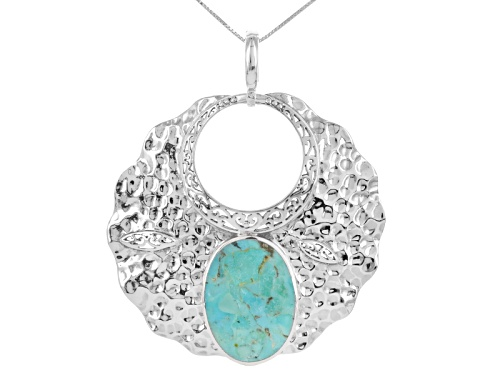 Photo of Southwest Style By Jtv™ 32x22.30mm Oval Turquoise Solitaire Sterling Silver Enhancer With Chain